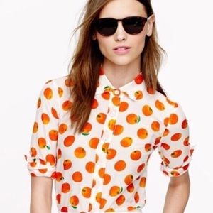 J. Crew Perfect Shirt Oranges Button Up Blouse